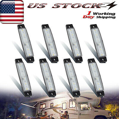 8X 3.8'' Travel Trailer RV 6 LED Porch Light Exterior Lighting White • 14.51$