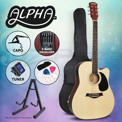 """AU119.95 • Buy Alpha 41"""" Inch Electric Acoustic Guitar Wooden Classical Full Size EQ Capo Natur"""