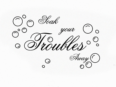 Soak Your Troubles Away Wall Stickers Wall Quotes Bubbles Bathroom Toilet UK 197 • 4.30£