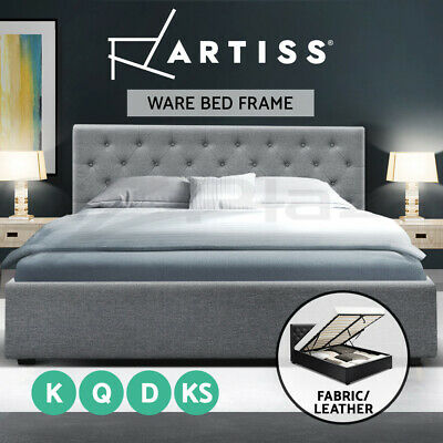 AU299 • Buy Artiss Bed Frame King Single Double Queen Size Gas Lift Base With Storage