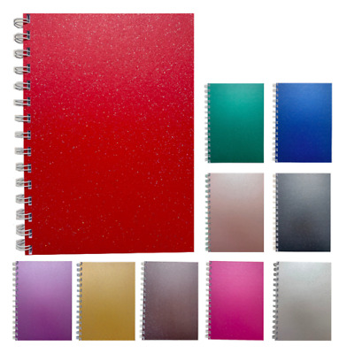 A5 Premium Notebook Notes Pearlised Sparkle Notepad New Plain 140 Pages Colours • 4.19£