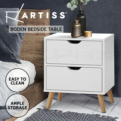AU52.95 • Buy Artiss Bedside Tables Drawers Side Table Nightstand White Storage Cabinet Wood