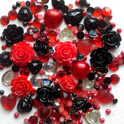 20g RED + BLACK Pearls/Roses/Gems Flatback Kawaii Cabochons Decoden Craft • 2.79£