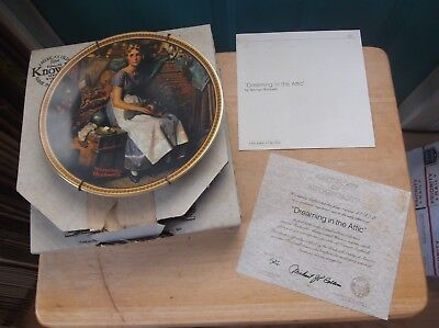 $ CDN18.88 • Buy Edwin Knowles Collector Plate Norman Rockwell  Dreaming In The Attic  In Box