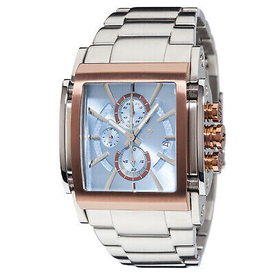 YVES CAMANI ESCAUT Mens Watch Stainless Steel Rosegold Blue Chronograph New • 179£