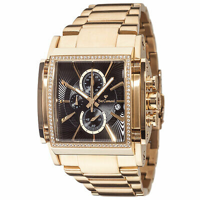 YVES CAMANI ESCAUT Mens Watch Chronograph Gold Plated Stainless Steel Black Dial • 219£