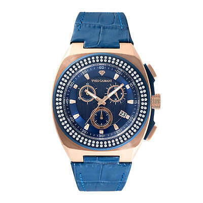 YVES CAMANI Quentin Stones Mens Watch Stainless Steel Blue Rosegold Chrono New • 89.80£