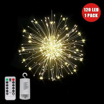 120 Led Warm White Firework Fairy Lights String Remote Control Christmas Party • 7.95£