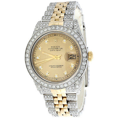 $ CDN13899.75 • Buy Rolex DateJust 16013 Diamond Watch Two Tone 18K / Steel 36mm Champagne Dial 8 CT