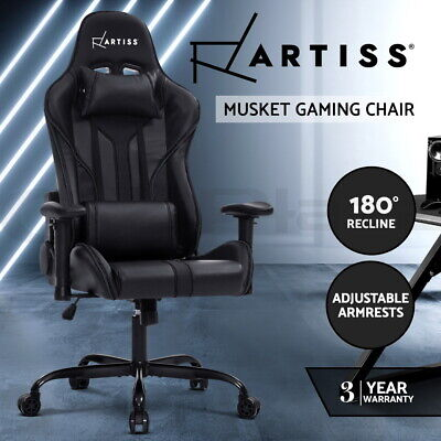 AU249 • Buy Artiss Gaming Office Chair Computer Chairs Leather Seat Racing Racer Black