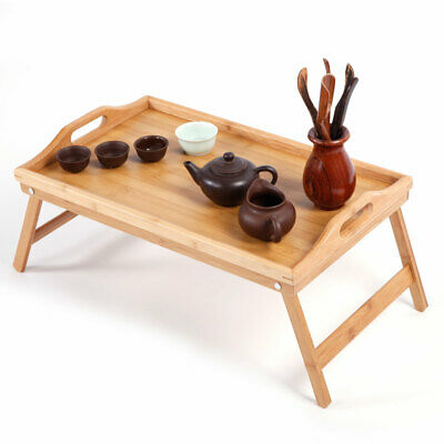 $18.48 • Buy Wood Breakfast Food Tea Serving Tray Lap Table Over Bed Tray With Folding Legs