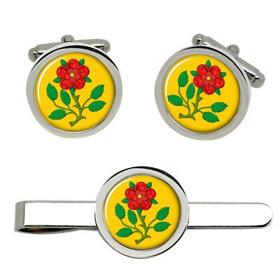 Lancashire Rose Cufflinks And Tie Clip Set • 22.99£