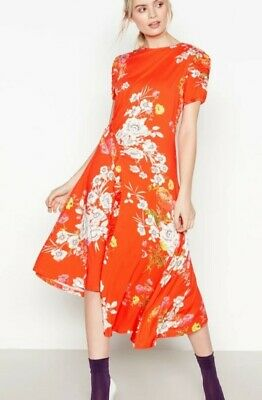 Studio By Preen Size14,16 Rp£59/red Floral Print Jersey High Low Midi Dress Bnwt • 29.99£