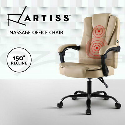 AU129.95 • Buy Artiss Massage Office Chair Gaming Chair Leather Recliner Computer Chairs Khaki