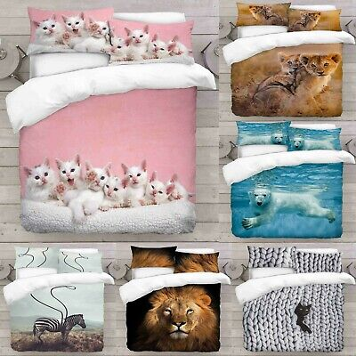 UK Made 3D Duvet Quilt Cover With Pillowcases New Animal Design Digital Print • 54.99£
