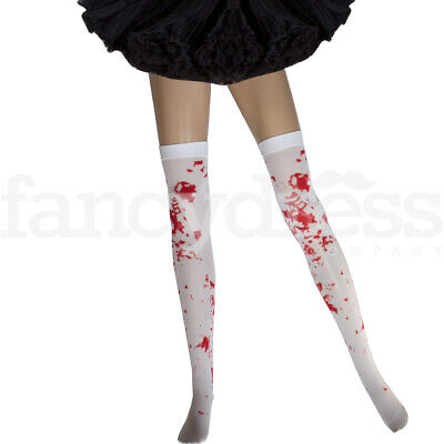 Ladies Blood Stockings Hold Up Halloween Fancy Dress Costume Party Zombie Nurse • 2.20£