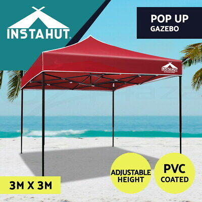 AU80.90 • Buy Instahut Gazebo Pop Up Marquee 3x3 Outdoor Tent Folding Wedding Gazebos Red