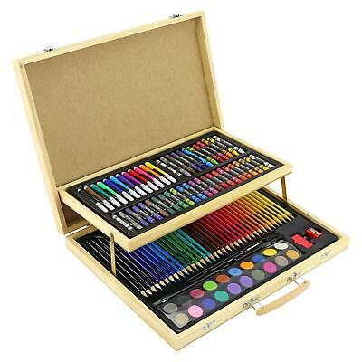 £16.95 • Buy 108pc WOODEN ART CASE COLOURING PENCILS PAINTING SET CHILDRENS ADULTS