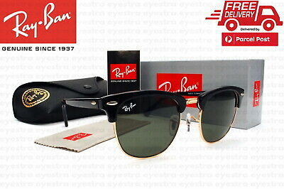 AU99.99 • Buy New Classic Ray-Ban Clubmaster RB3016 W0365 51mm Black Frame Green Lenses