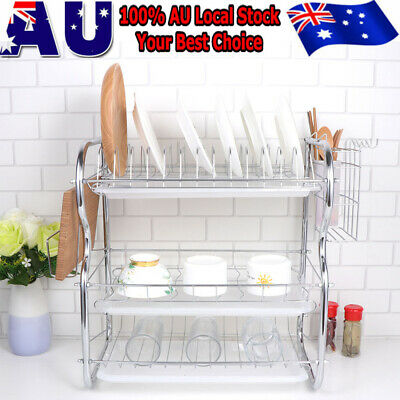 AU28.99 • Buy Dish Rack Drain Drainer Board Kitchen Tool Cup Dish Drying Plate Holder 3-Tier