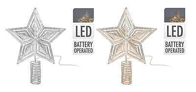Light Up LED Christmas Tree Topper 3D Metal Gold Silver Glitter Star With Timer • 6.99£