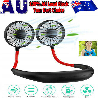AU15.69 • Buy Portable USB Rechargeable Neckband Dual Cooling Mini Fan Lazy Neck Hanging Style