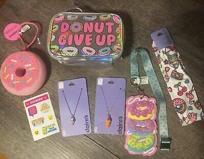 AU45.59 • Buy Claire's Donut Bag Unicorn Squishy Jewelry Hair Lot Justice Stickers