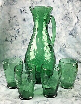 $52.50 • Buy Morgantown Driftwood Green Crinkle Glass Pitcher, 4 Juice Glasses Mid-Century