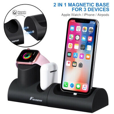 AU24.99 • Buy 3 In 1 Charger Fast Charging Dock Stand For Airpods Apple Watch IPhone
