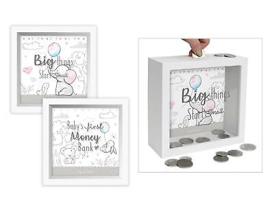 Baby First Money Bank Piggy Box Glass Wood Bunny Bear Animals Quote White Unisex • 9.99£