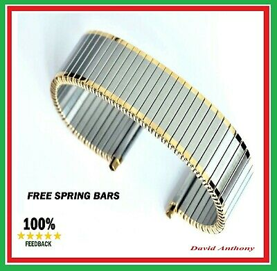 £10.95 • Buy THE BEST⭐20mm To 25mm 2 TONE GOLD STEEL Expanding Expander WATCH Bracelet Strap