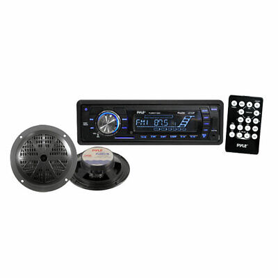 Pyle Marine Boat IPod Ready MP3 USB SD Card Stereo Pair Of Speakers & Remote • 54.99£