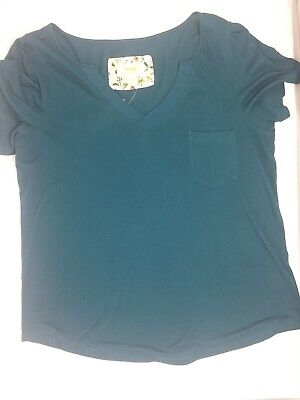 $ CDN32.85 • Buy Maeve Womens Top XL Short Sleeve Neck Anthropologie Teal Cotton Modal Pocket NWT