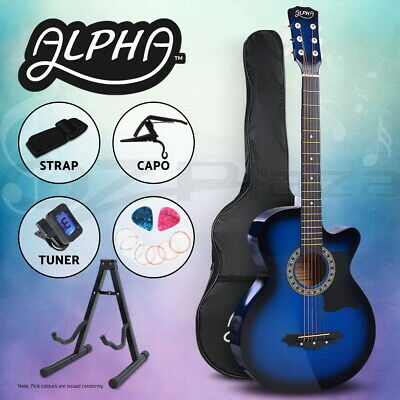 "AU92.90 • Buy Alpha 38"" Inch Wooden Acoustic Guitar Classical Folk Full Size W/ Bag Capo Blue"