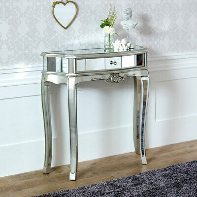 $206.86 • Buy Ornate Mirrored Half Moon Console Table Living Room Hallway Demi Lune Furniture