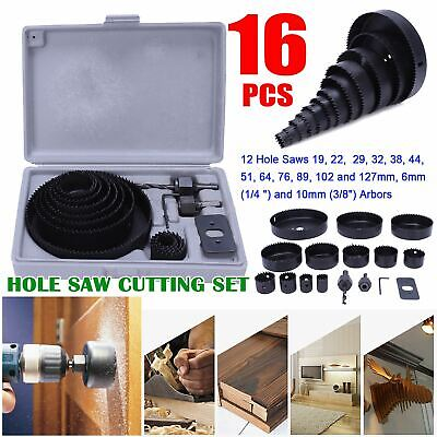 £9.59 • Buy 16pc Hole Saw Circle Cutter Set Wood Metal Alloy Plastic Downlight 19-127mm Tool