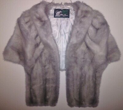 $299.95 • Buy Silver Gray MINK Real Fur Stole Wrap Bridal Wedding Cape Jacket Silk $2800 Taupe