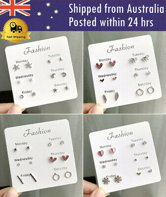 AU2.79 • Buy 4/6 Pairs Fashion Rhinestone Crystal Pearl Earrings Set Lady Stud Jewelry Gift