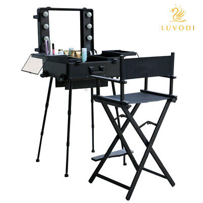 Black Professional Make Up Artist Rolling Studio Stand Cosmetic Case With Lights • 199.92£