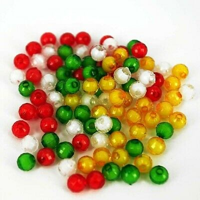 £1.85 • Buy Christmas Acrylic Red Green White Gold 100 Beads  AC1, 6mm