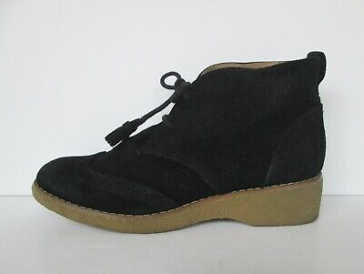 £23.87 • Buy Lands End Womens Black Suede Leather Chukka Wing Tip Booties Boots 9.5 M