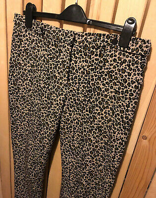 TOPSHOP Ladies Leopard Print Tailored High Waist Trousers Size 14 Rockabilly • 24.99£