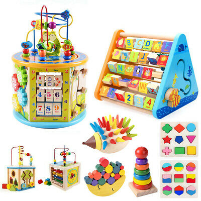 Wooden Activity Cube Kids Baby Bead Maze Montessori Toys Early Learning Puzzle • 6.59£