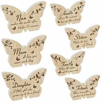 Woodland Butterfly Wooden Gift Mum Nan Sister Auntie Family Friend Daughter  • 8.99£