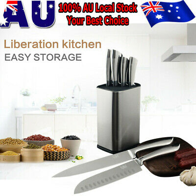 AU18.59 • Buy Stainless Steel Knife Holder Block Universal Knives Stand Kitchen Kinves Storage