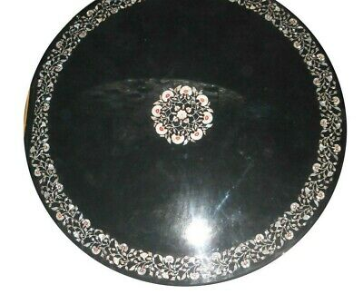 AU2397.47 • Buy 42  Black Marble Round Table Top Inlay Work Marquetry Garden Dining Decor