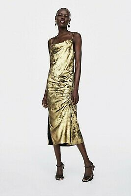 New Zara Xs Gold Metallic Ruched Cowl Neck Long Cami Slip Lingerie Dress Party • 26.50$