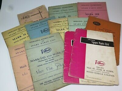 VINTAGE AUTOMOBILIA Spare Parts List VILLIERS Motorcycle Engines 1950s/60 SELECT • 10£