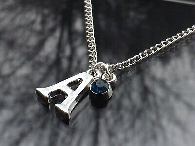 Personalised Initial 20  Birthstone Necklace & Silver Plated Letter • 3.50£