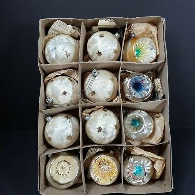 $ CDN48.27 • Buy 12 Vintage Christmas Tree Ornaments Frosted & Indents West Germany Metal Caps